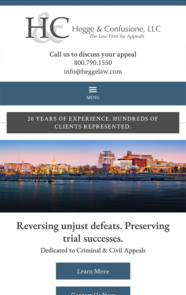 Mobile Friendly Law Firm Webiste for Hegge & Confusione, LLC