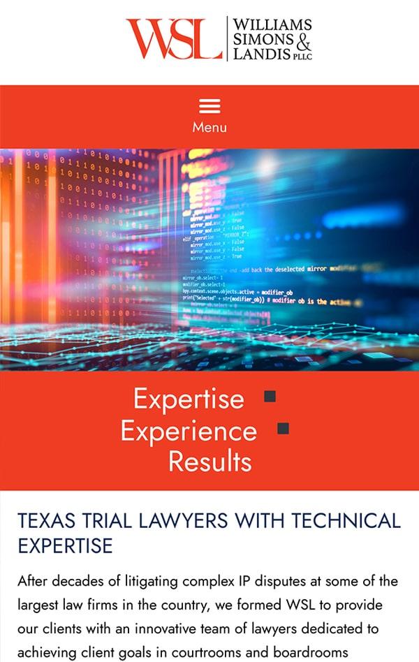 Mobile Friendly Law Firm Webiste for Williams Simons & Landis PLLC