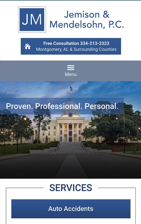 Mobile Friendly Law Firm Webiste for Jemison & Mendelsohn