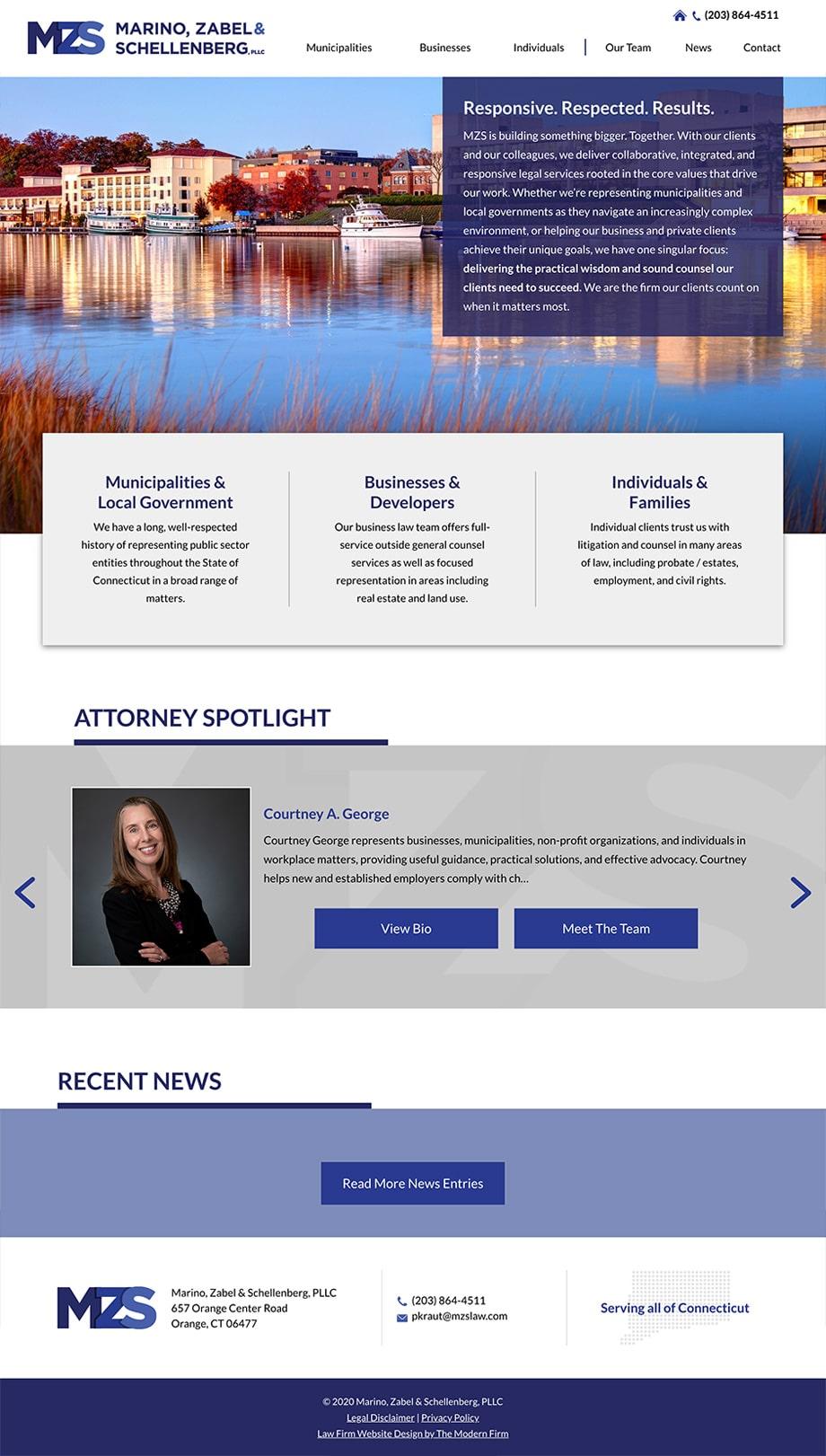 Law Firm Website Design for Marino, Zabel & Schellenberg, PLLC