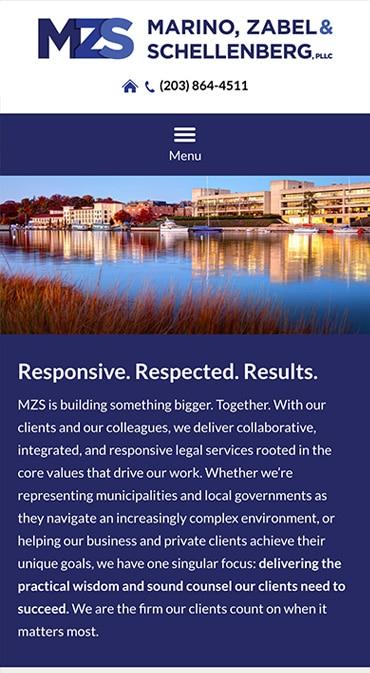 Responsive Mobile Attorney Website for Marino, Zabel & Schellenberg, PLLC