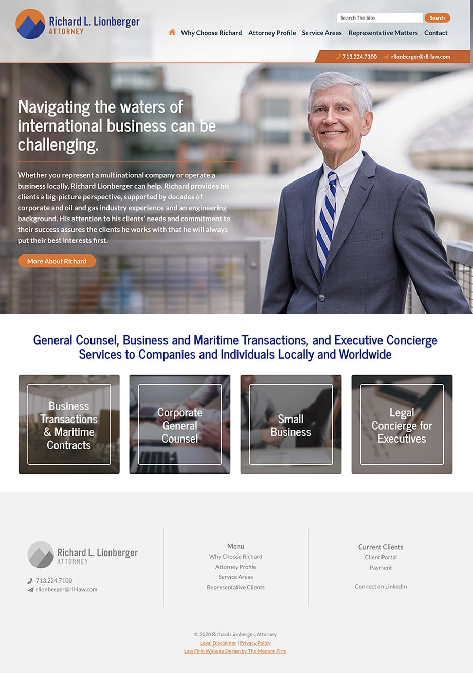 Law Firm Website Design for Richard Lionberger, Attorney