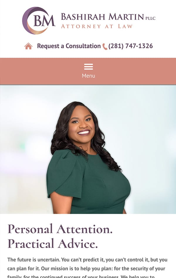Mobile Friendly Law Firm Webiste for Bashirah Martin, Attorney at Law PLLC