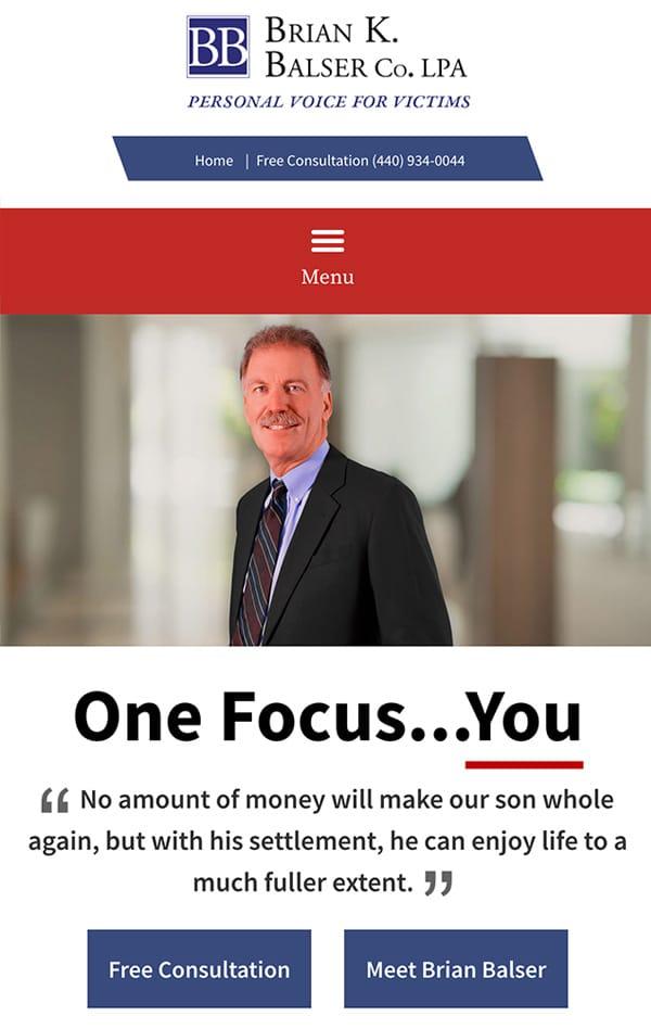 Mobile Friendly Law Firm Webiste for Brian K. Balser Co. LPA