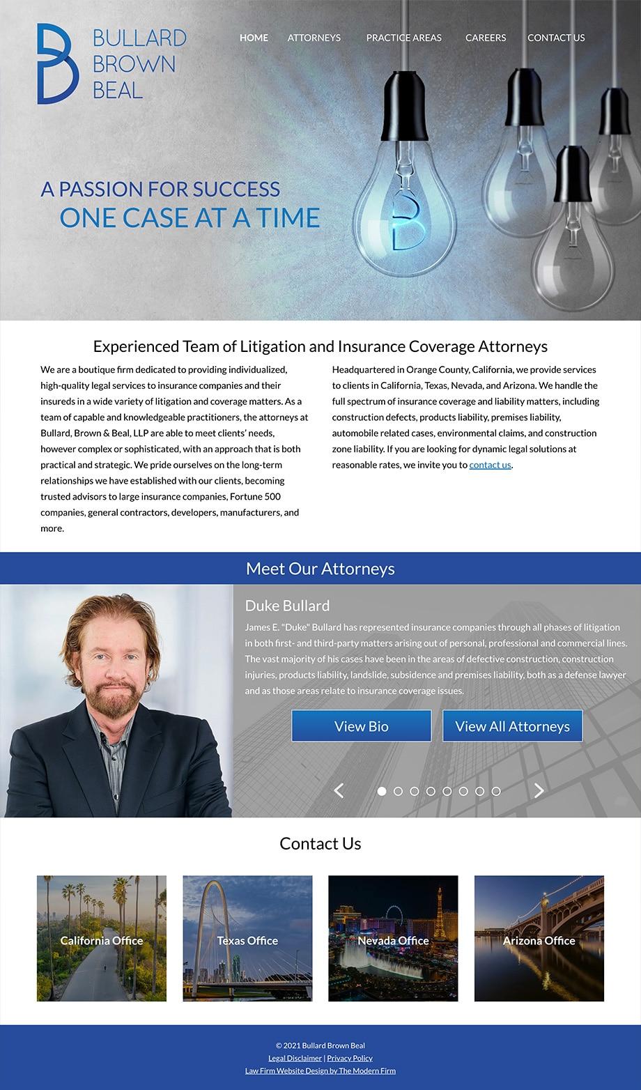 Law Firm Website Design for Bullard Brown Beal