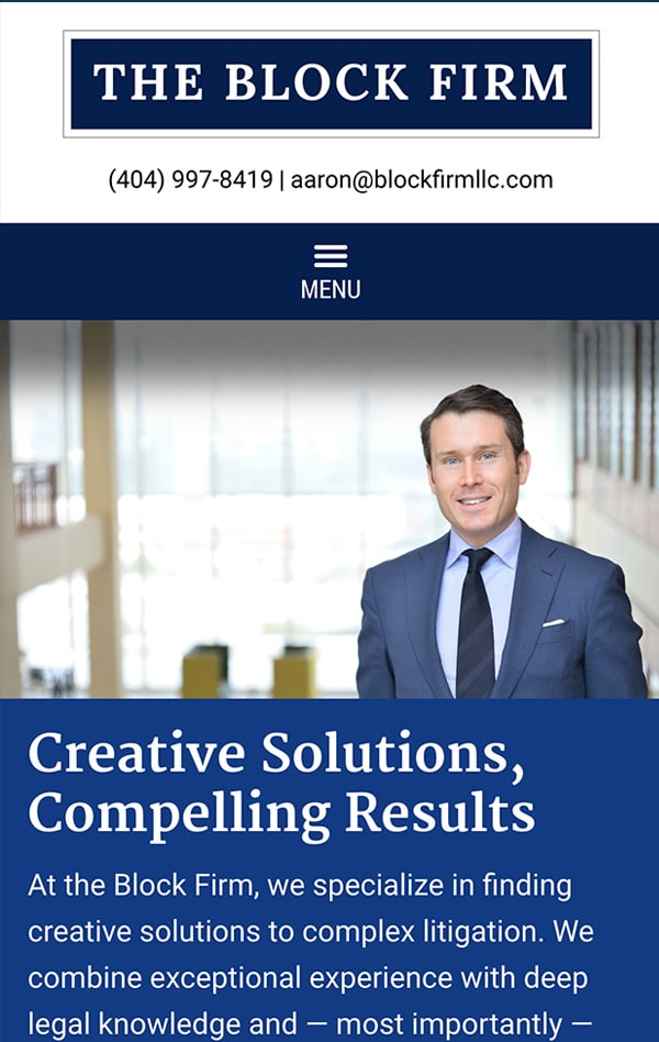 Mobile Friendly Law Firm Webiste for The Block Firm, LLC