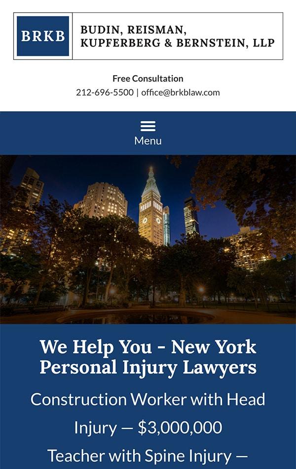 Mobile Friendly Law Firm Webiste for Budin, Reisman, Kupferberg & Bernstein, LLP
