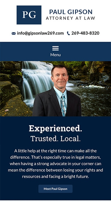 Responsive Mobile Attorney Website for Paul Gipson, Attorney at Law