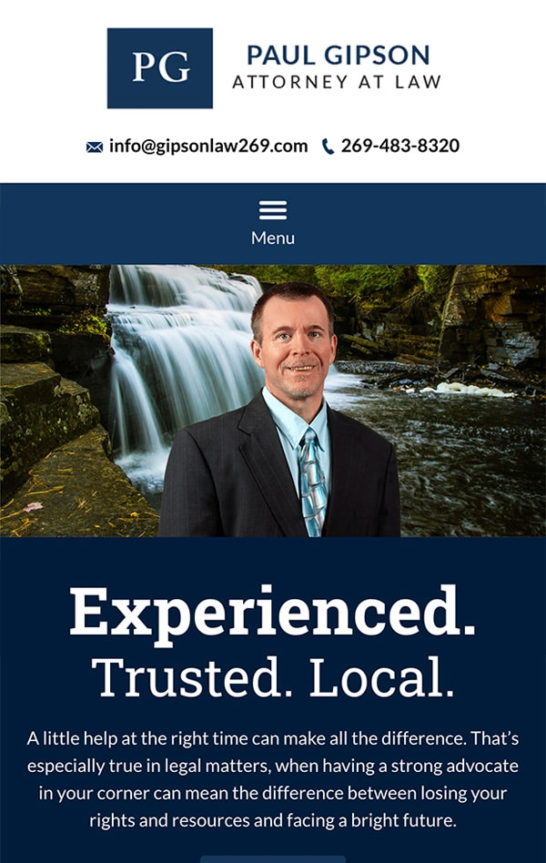 Mobile Friendly Law Firm Webiste for Paul Gipson, Attorney at Law