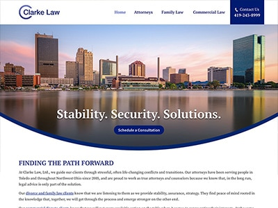 Website Design for Clarke Law, Ltd.