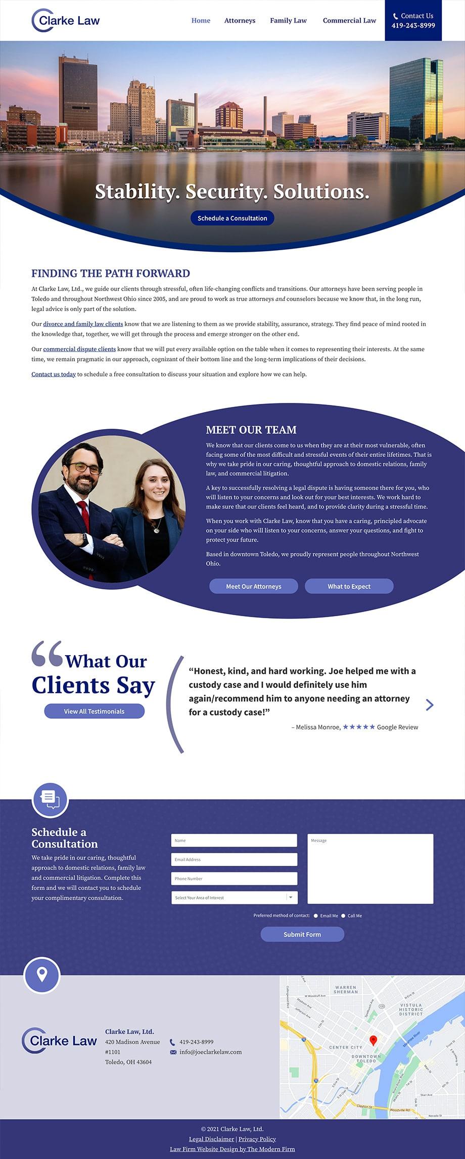 Law Firm Website Design for Clarke Law, Ltd.