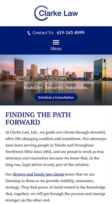 Responsive Mobile Attorney Website for Clarke Law, Ltd.