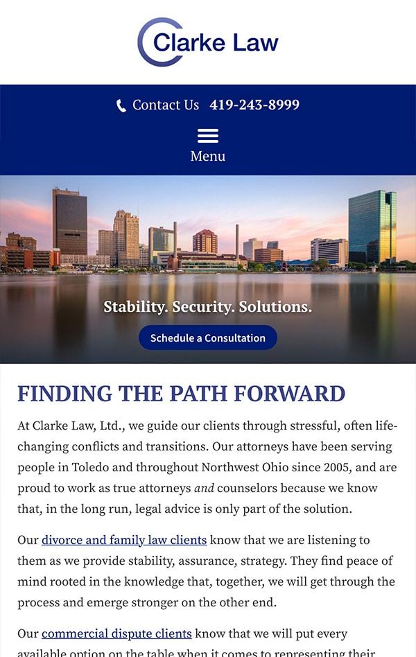 Mobile Friendly Law Firm Webiste for Clarke Law, Ltd.
