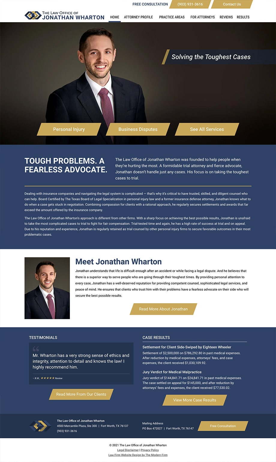 Law Firm Website Design for The Law Office of Jonathan Wharton