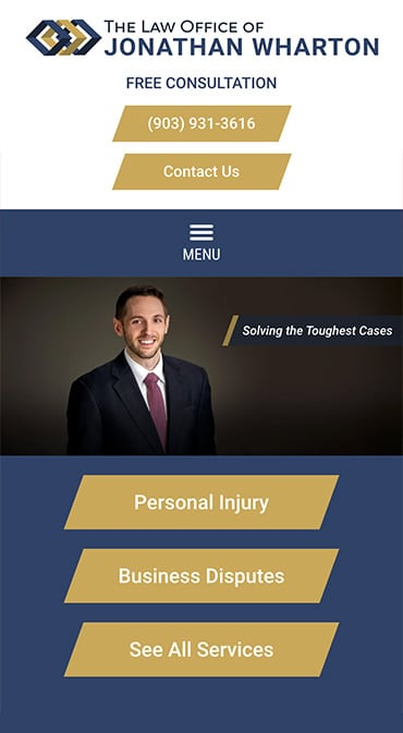 Responsive Mobile Attorney Website for The Law Office of Jonathan Wharton