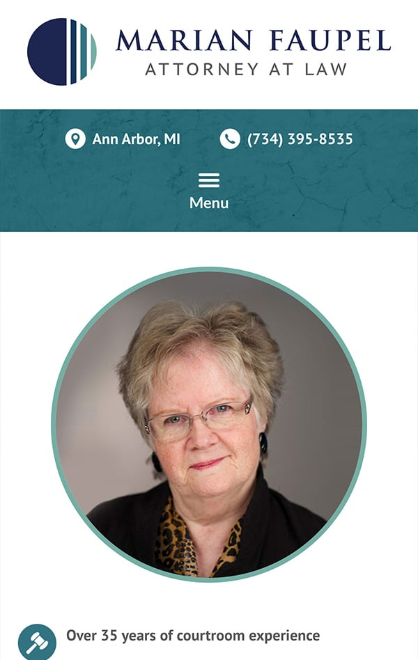 Mobile Friendly Law Firm Webiste for Marian Faupel, Attorney at Law