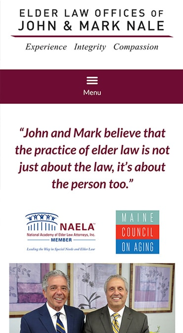 Responsive Mobile Attorney Website for Elder Law Offices of John and Mark Nale