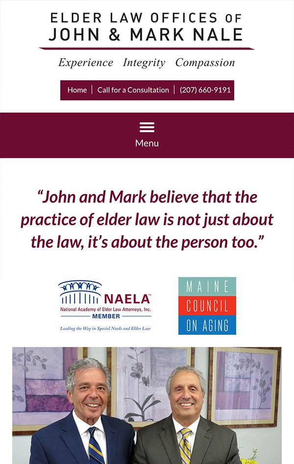 Mobile Friendly Law Firm Webiste for Elder Law Offices of John and Mark Nale