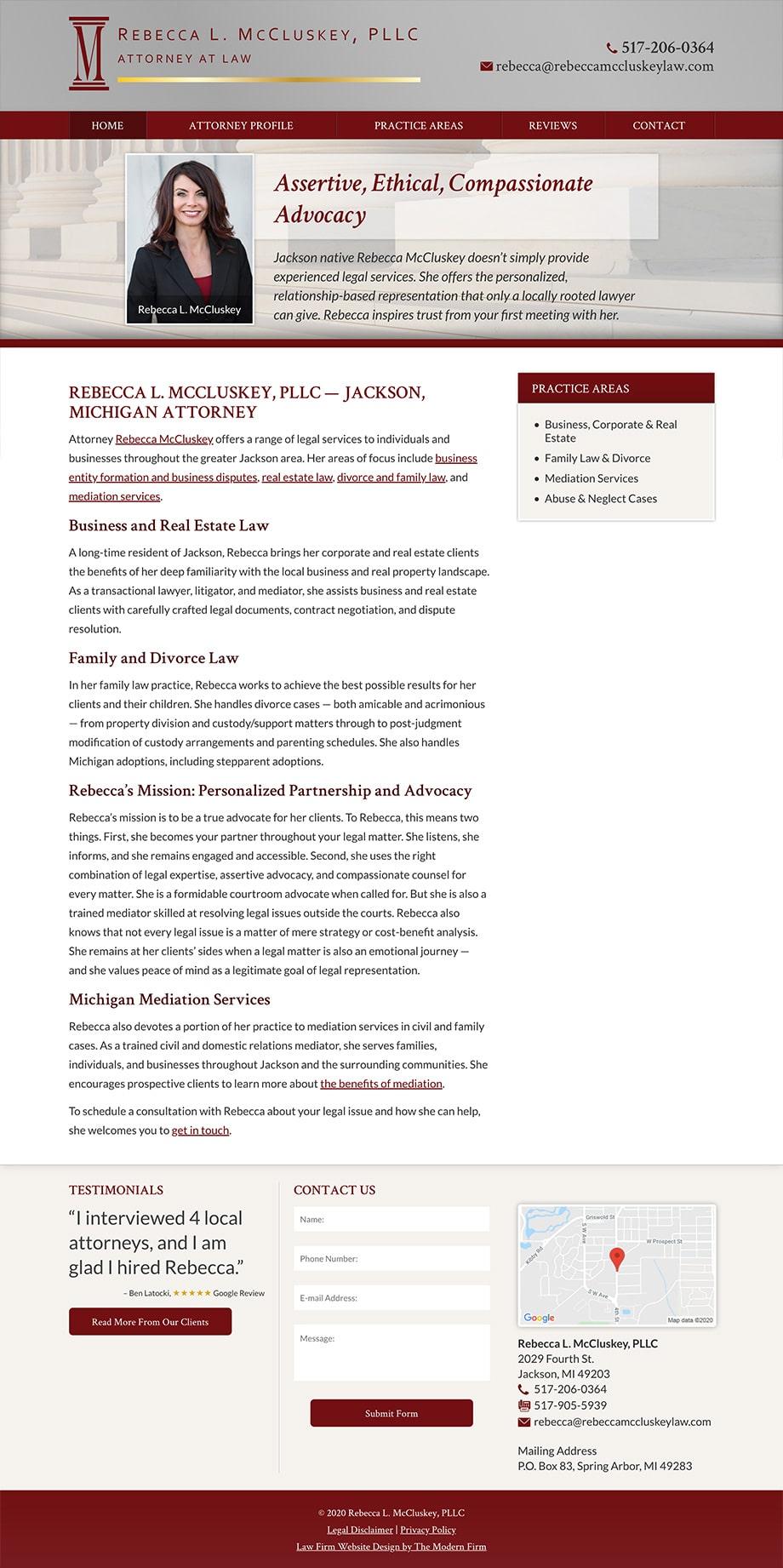 Law Firm Website Design for Rebecca L. McCluskey, PLLC