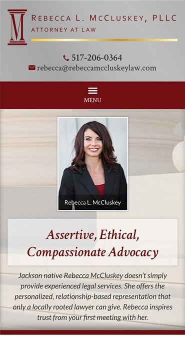 Responsive Mobile Attorney Website for Rebecca L. McCluskey, PLLC