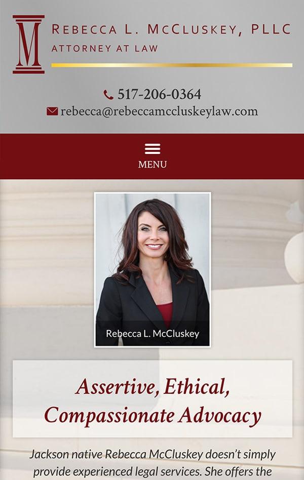 Mobile Friendly Law Firm Webiste for Rebecca L. McCluskey, PLLC