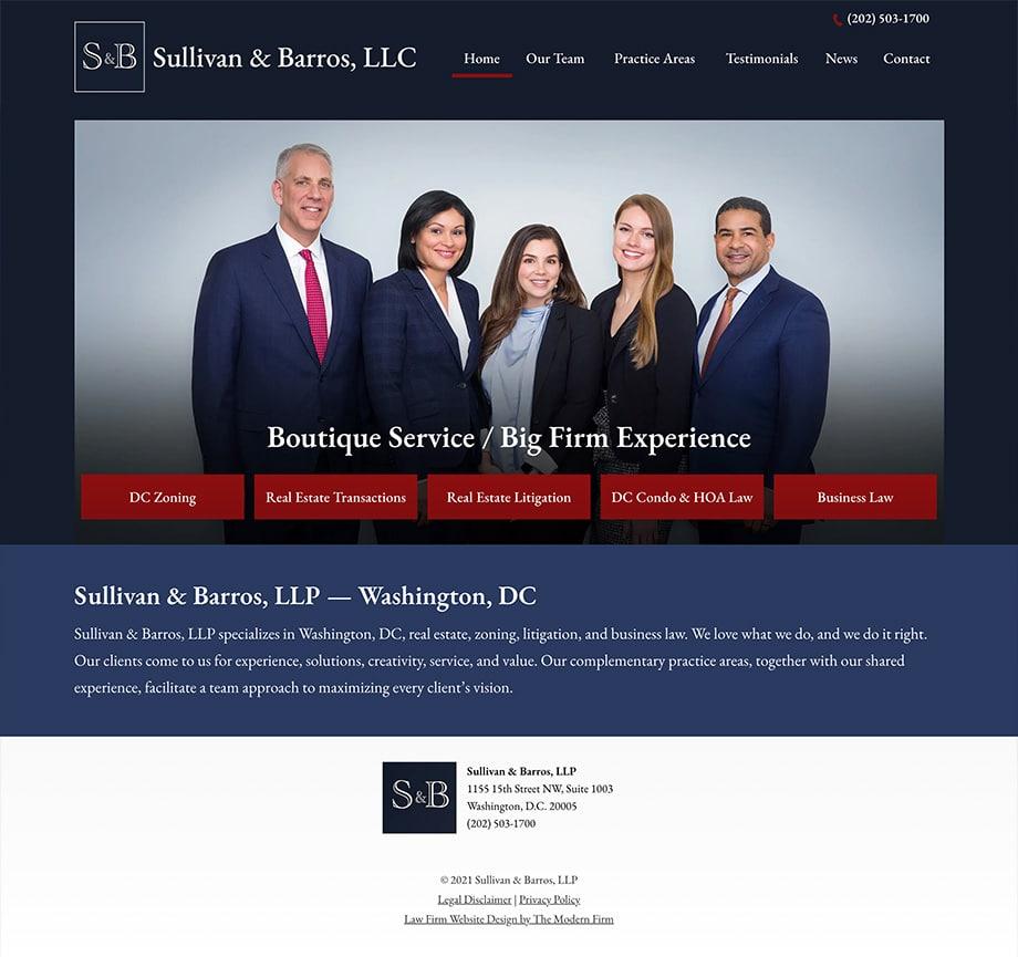 Law Firm Website Design for Sullivan & Barros, LLP