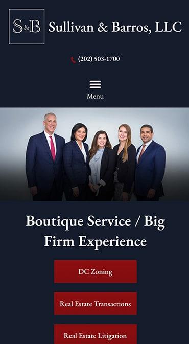 Responsive Mobile Attorney Website for Sullivan & Barros, LLP