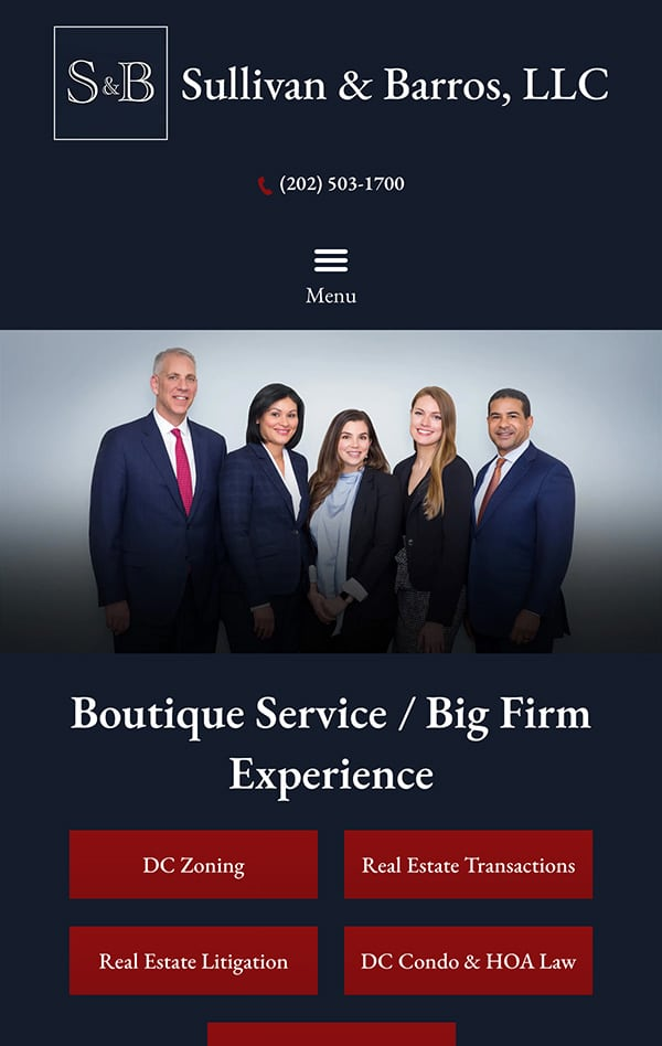 Mobile Friendly Law Firm Webiste for Sullivan & Barros, LLP