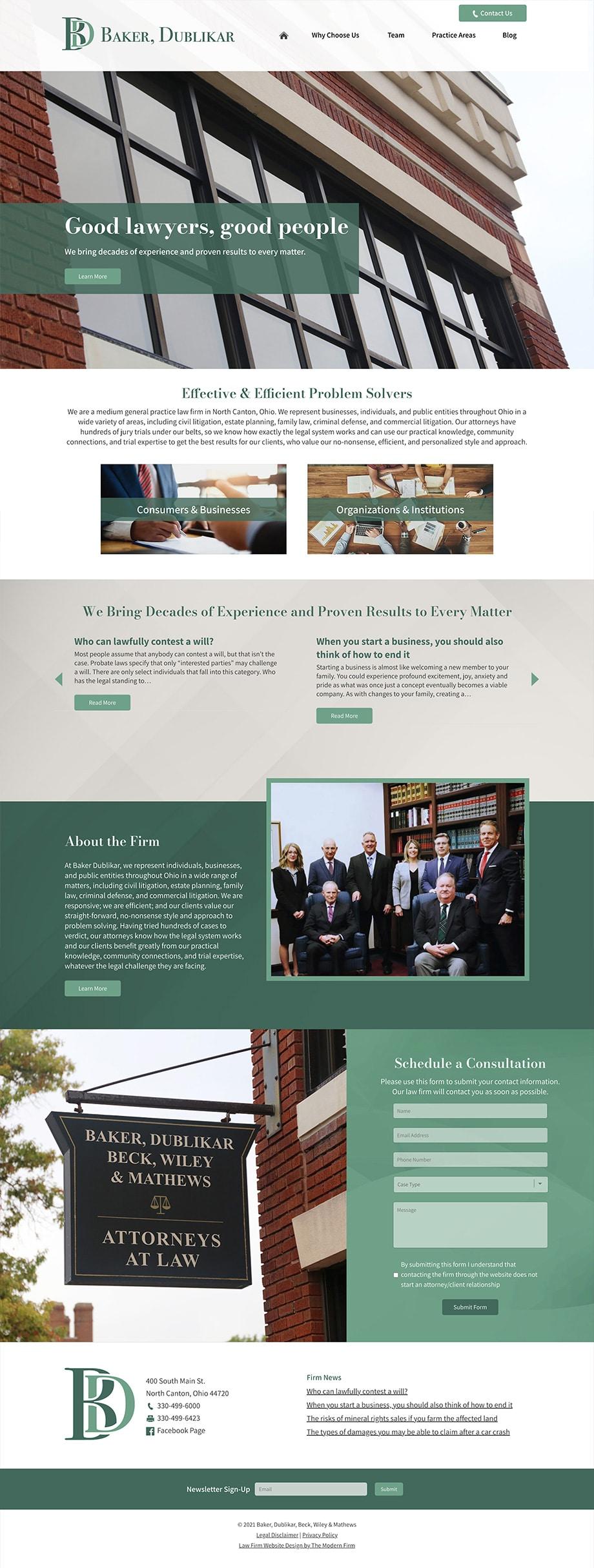 Law Firm Website Design for Baker, Dublikar, Beck, Wiley & Mathews