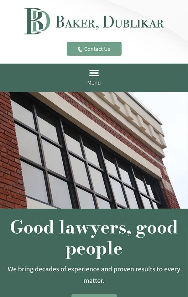 Mobile Friendly Law Firm Webiste for Baker, Dublikar, Beck, Wiley & Mathews