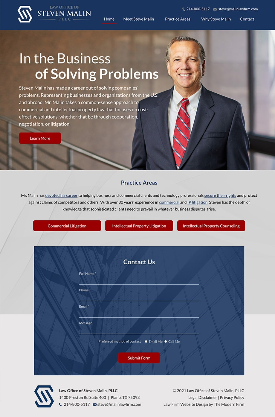 Law Firm Website Design for Law Office of Steven Malin, PLLC