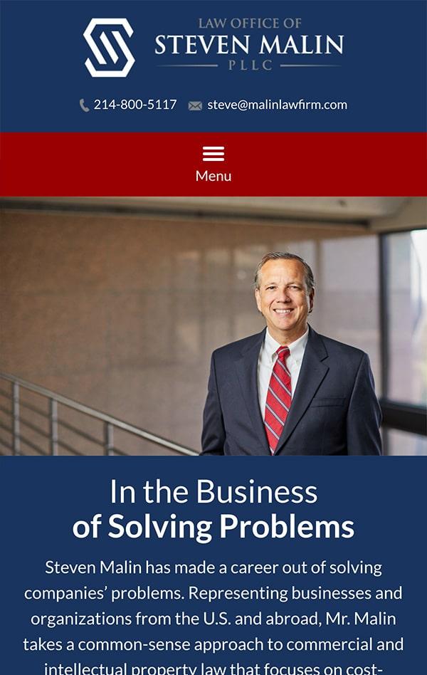 Mobile Friendly Law Firm Webiste for Law Office of Steven Malin, PLLC