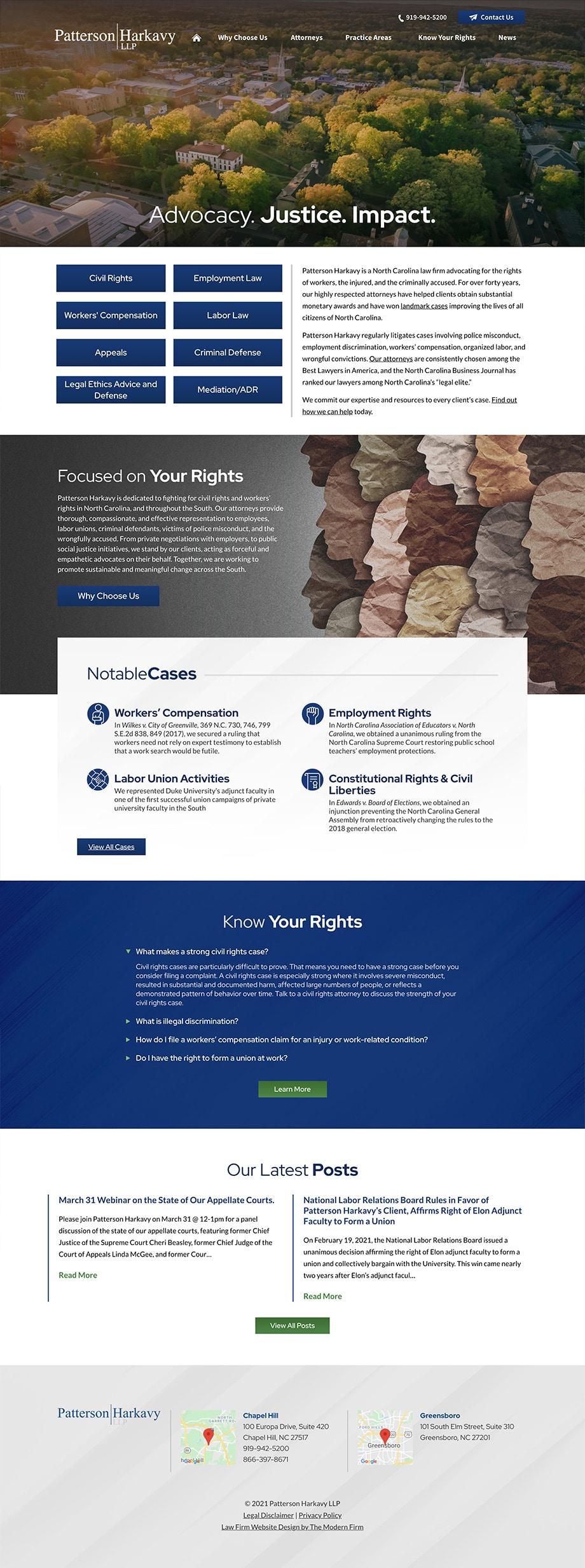 Law Firm Website Design for Patterson Harkavy LLP