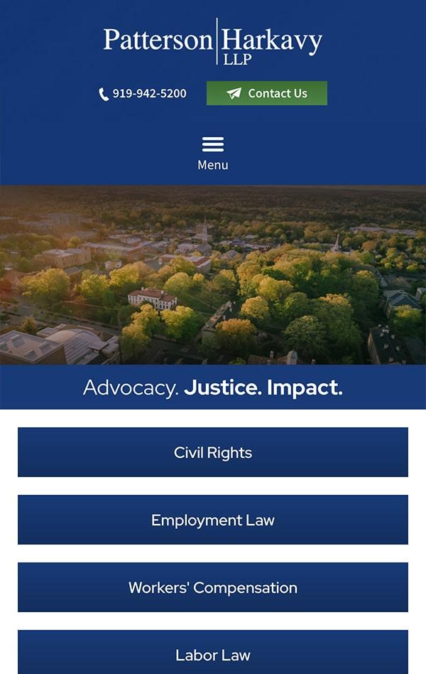 Mobile Friendly Law Firm Webiste for Patterson Harkavy LLP