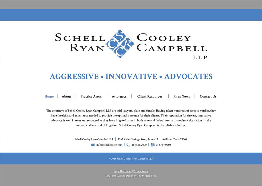 Law Firm Website Design for Schell Cooley Ryan Campbell LLP