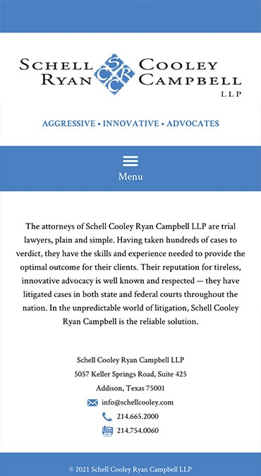 Responsive Mobile Attorney Website for Schell Cooley Ryan Campbell LLP