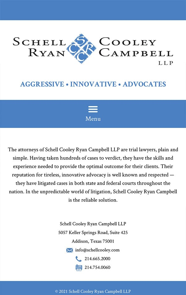 Mobile Friendly Law Firm Webiste for Schell Cooley Ryan Campbell LLP