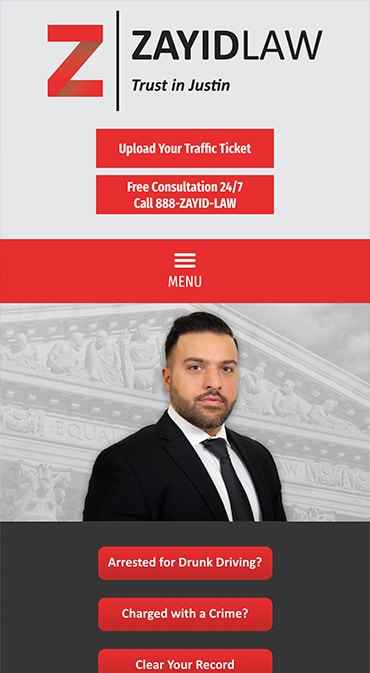 Responsive Mobile Attorney Website for Zayid Law P.C.
