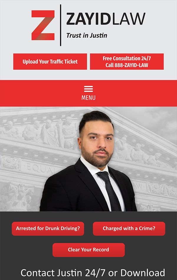 Mobile Friendly Law Firm Webiste for Zayid Law P.C.