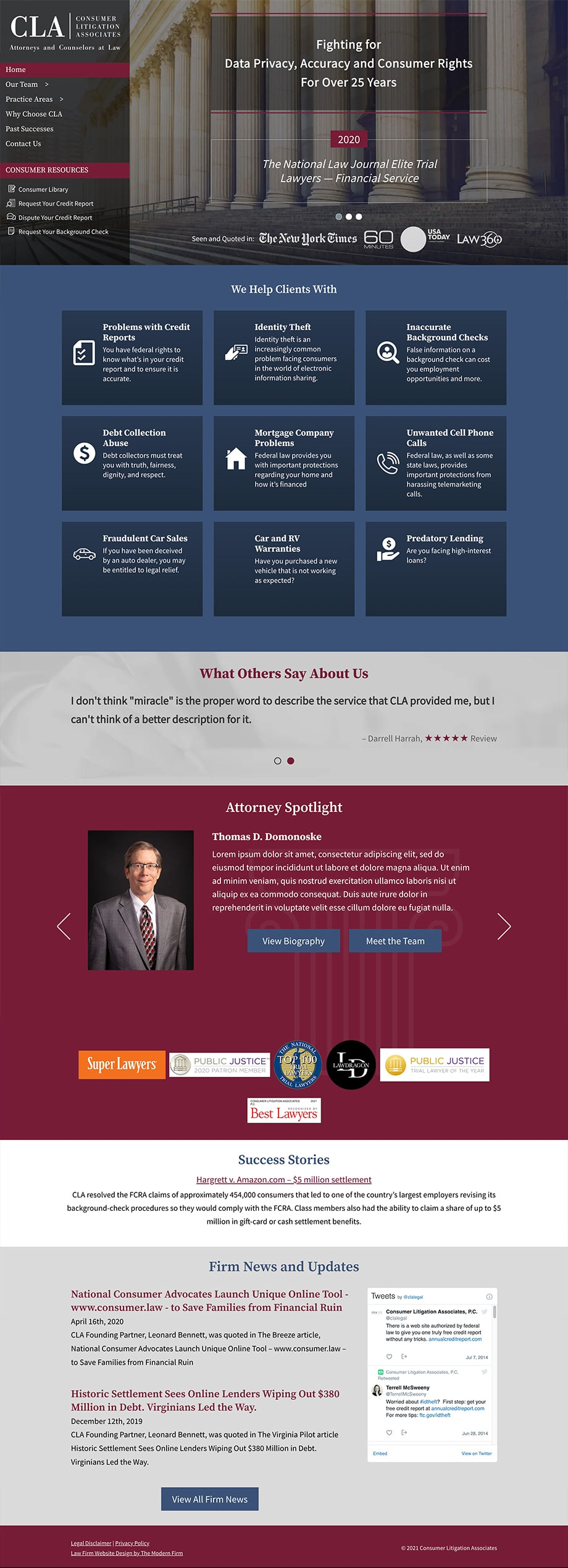 Law Firm Website Design for Consumer Litigation Associates