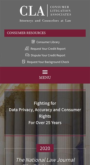Responsive Mobile Attorney Website for Consumer Litigation Associates