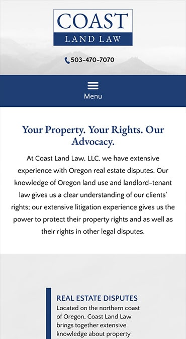 Responsive Mobile Attorney Website for Coast Land Law, LLC