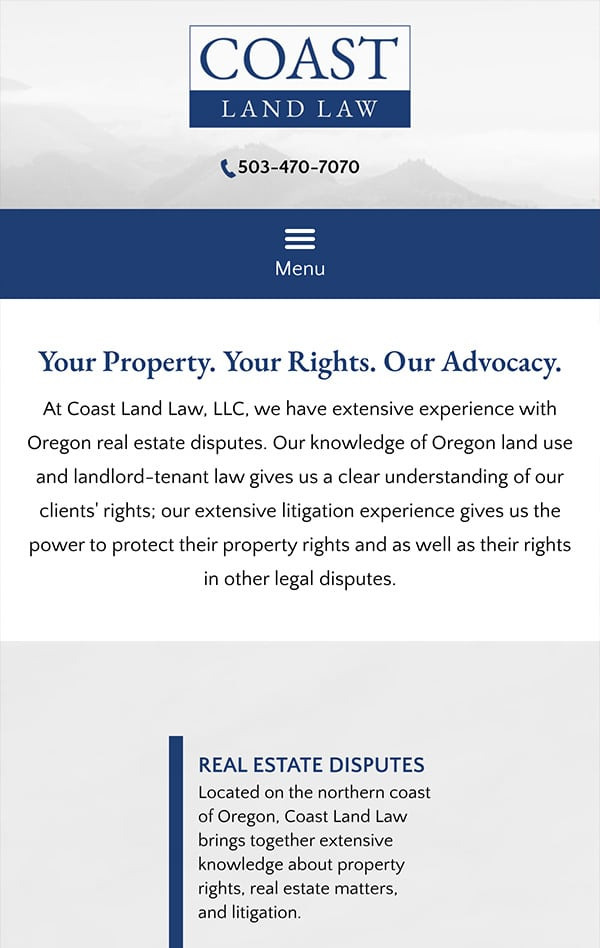 Mobile Friendly Law Firm Webiste for Coast Land Law, LLC