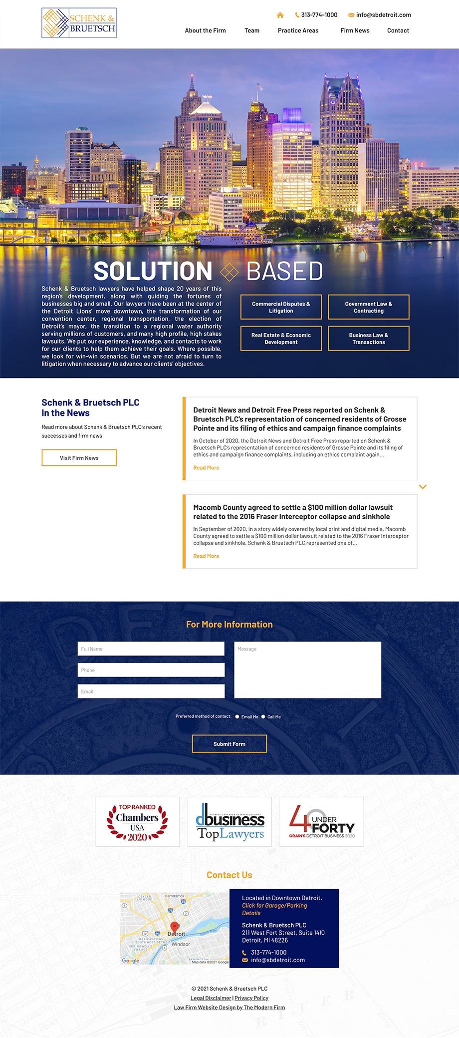 Law Firm Website Design for Schenk & Bruetsch PLC