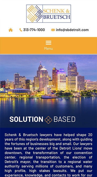 Responsive Mobile Attorney Website for Schenk & Bruetsch PLC