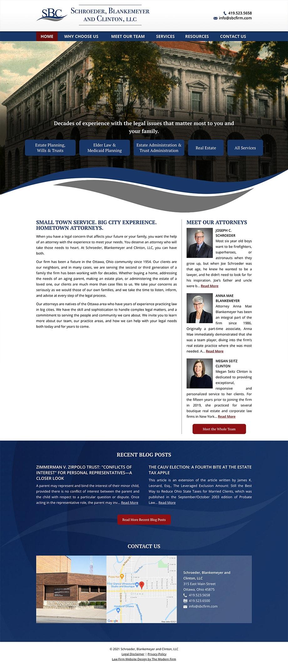 Law Firm Website Design for Schroeder, Blankemeyer and Clinton, LLC