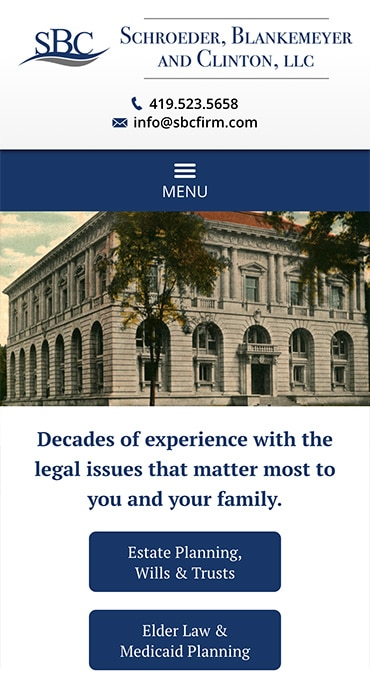 Responsive Mobile Attorney Website for Schroeder, Blankemeyer and Clinton, LLC