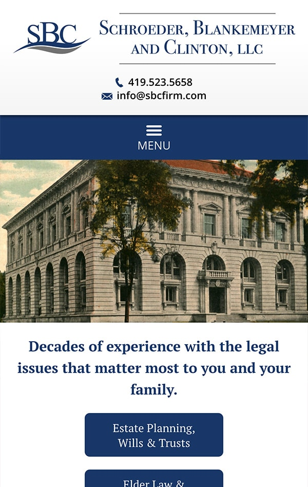 Mobile Friendly Law Firm Webiste for Schroeder, Blankemeyer and Clinton, LLC