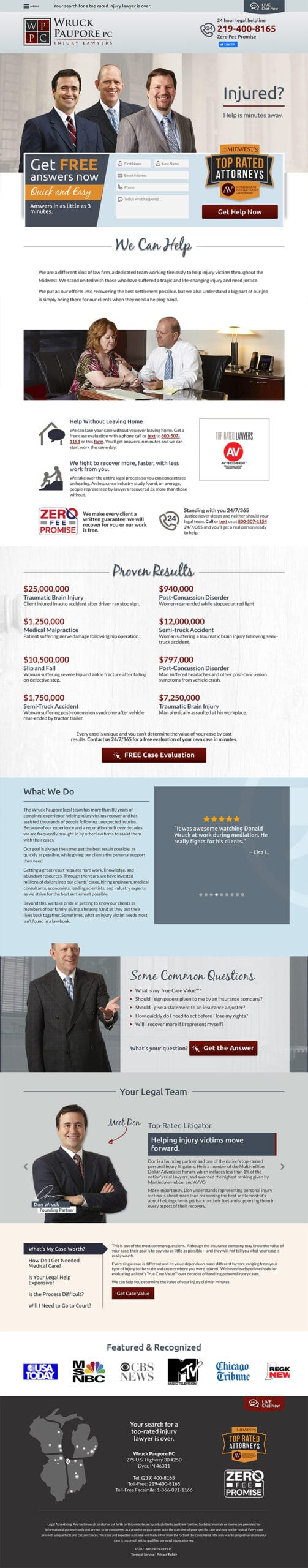 Law Firm Website Design for Wruck Paupore PC