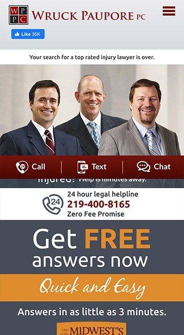 Responsive Mobile Attorney Website for Wruck Paupore PC